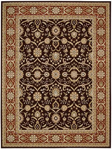 Nourison Persian Crown Dark Brown Rectangle Area Rug, 9-Feet 3-Inches by 12-Feet 9-Inches 9 3 x 12 9