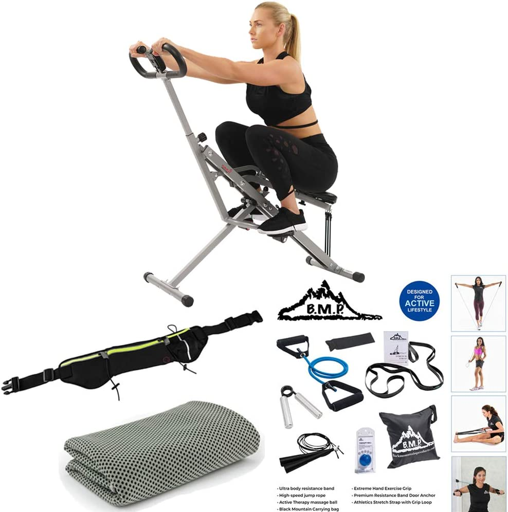 Amazon Com Sunny Health And Fitness Upright Squat Assist Row N Ride Trainer Bundle With 7 Piece Fitness Kit Sports Zippered Waist Bag And Workout Cooling Towel Sports Outdoors