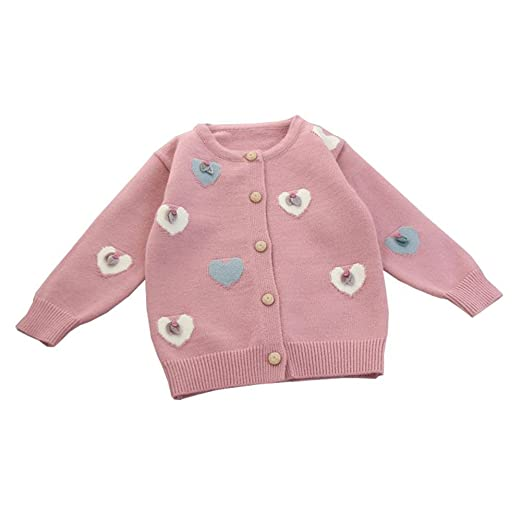 ff2515b15 Amazon.com  LOSORN ZPY Baby Girl Heart Sweater Cotton Kids Button ...