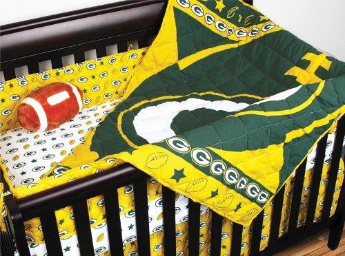 Packers Full Bedskirt Bay Green - NFL Green Bay Packers 4pc Football Crib Bedding Set