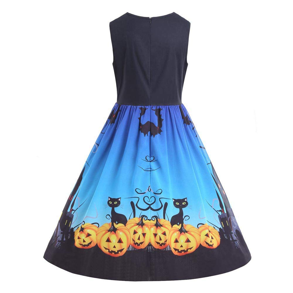 kaifongfu Halloween Dress,Women Vintage Print O-Neck Sleeveless Party Swing Dress(Blue,L)