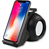 FELiCON Fast Wireless Charger with Bluetooth Speaker Phone Stand Holder USB Charging for Samsung Galaxy S9 S9 Plus S8 S8 Plus S7 S7 Edge S6 S6 Edge Note 8/5, iPhone X/8/8 Plus and Other All Qi-Enabled Device