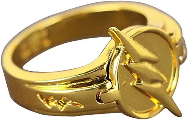 La Reverse flash Lightning Logo anillo de aleación de zinc Golden Cosplay Prop tamaño 7 y 8: Amazon.es: Joyería