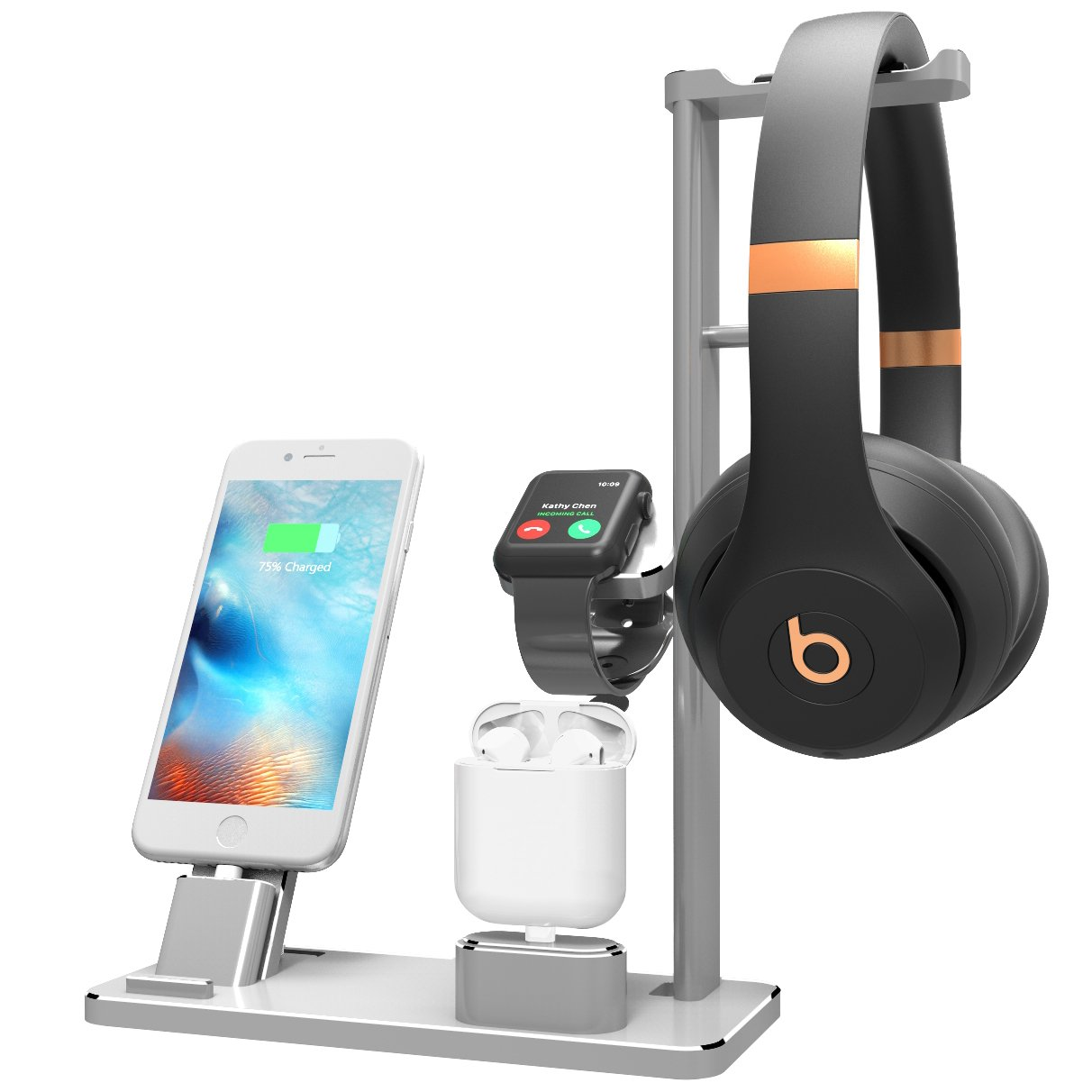 XUNMEJ Watch Stand Compatible for Apple Phone Dock Stand Station Headphones Stand Headset Dock for Apple Watch Series 2/1 AirPods Phone Xs X Max XR 7 7plus 6s 6plus iPad (Silver) by XUNMEJ