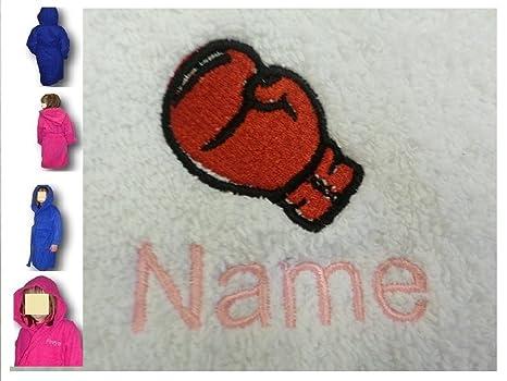Albornoz con capucha infantil con un guante de boxeo Logo y nombre de tu elección,