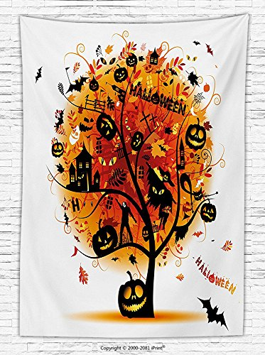 Halloween Decorations Fleece Throw Blanket Distressed Horror Tree with Mystic Halloween Elements Skull Devil Scary Design Throw Blanket for es Orange Black