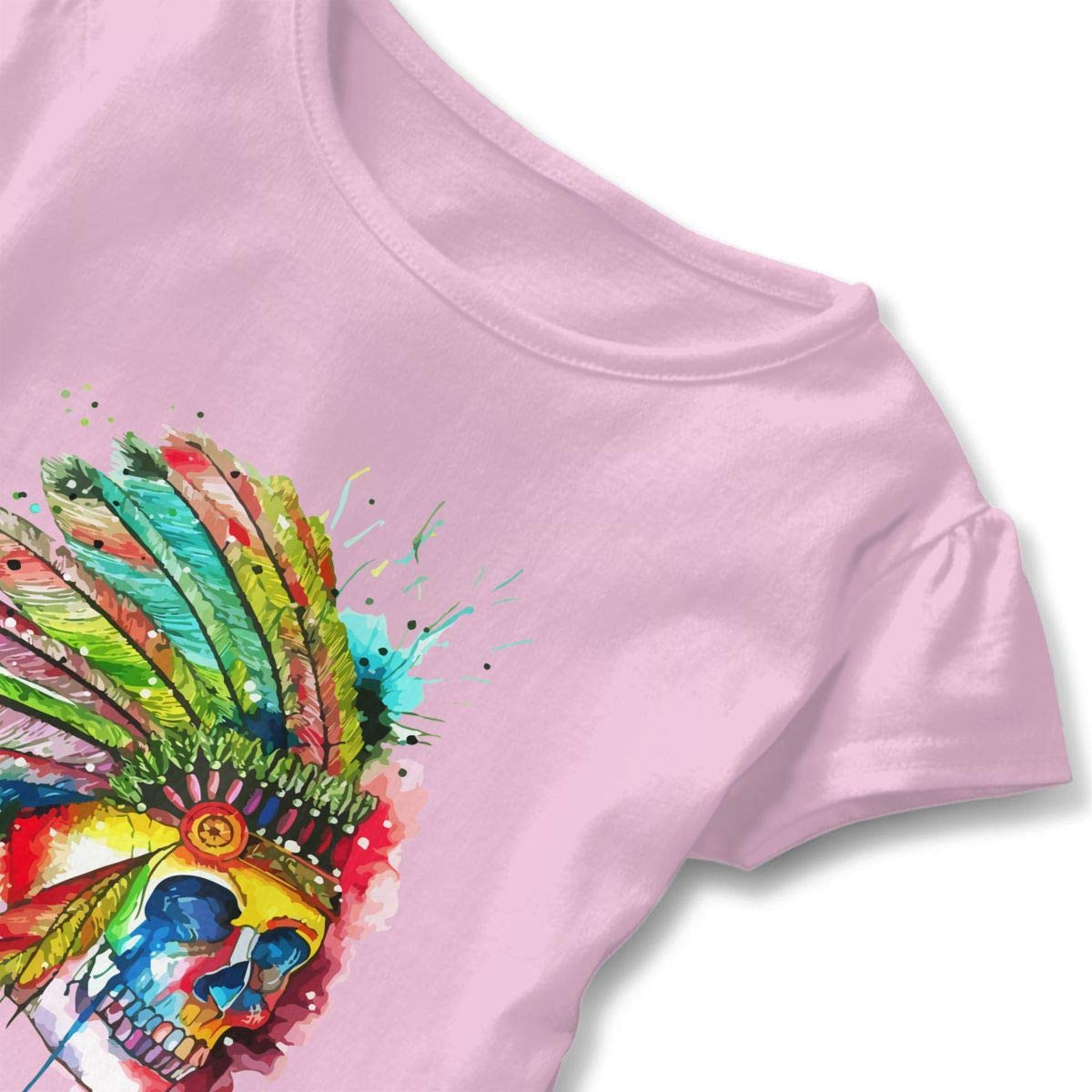 Clarissa Bertha American Indian Skull Toddler Baby Girls Short Sleeve Ruffle T-Shirt