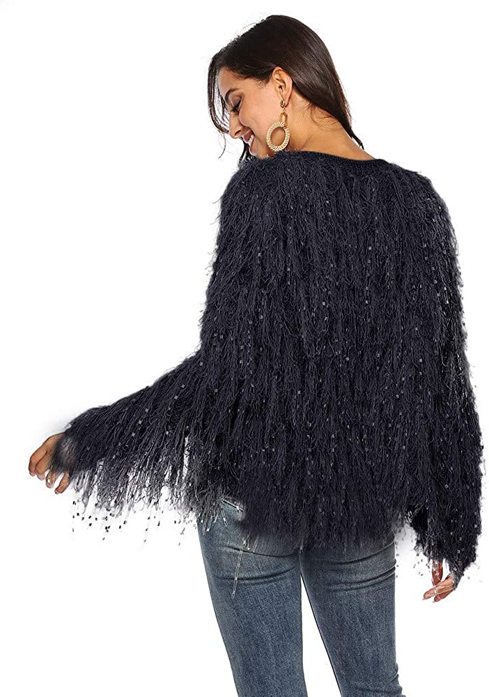 MODOQO Womens Jacket Cardigan Long Sleeve Tassels Wool Coat Sweater Autumn