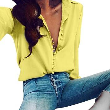 T Shirts - Blusa de manga larga para mujer, cuello en V, gasa,