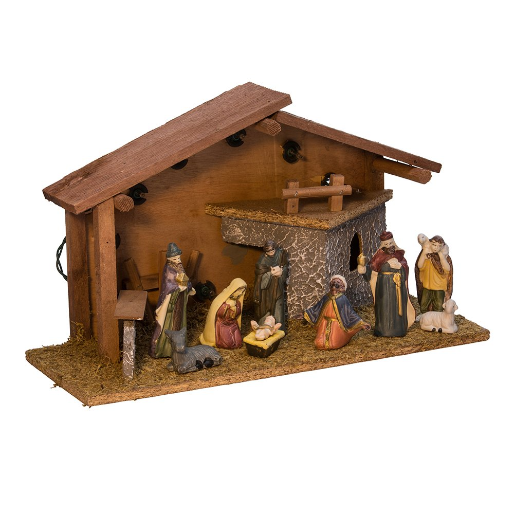 Kurt Adler Nativity Pieces with Figures and Lighted Wooden Stable, Set of 10