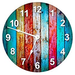 COLORED WOOD BOARDS CLOCK Extra Large 15.5 to 16 Wall Clock - Decorative Round Wall Clock - Home Decor