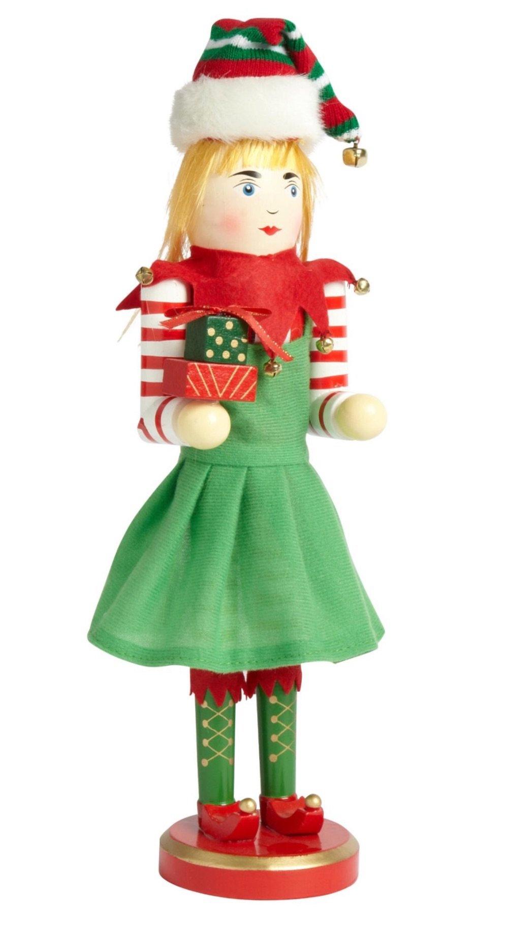 Large Unique Themed Decorative Holiday Season Wooden Christmas Nutcracker - Santa Elf Girl
