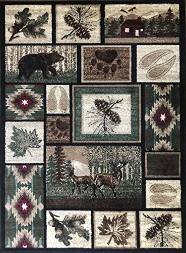 Carpet King Cabin Style Area Rug Rustic Western Country Bear Elk Deer Bear Wildlife Lodge Native Design 386 (7 Feet 7 Inch X 10 Feet 6 -