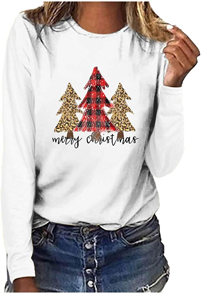 Spring Color ‿◕ Merry Christmas Letter Print Tee for Women Xmas O Neck Plaid Xmas T Shirt Long Sleeve Blouse Pullover