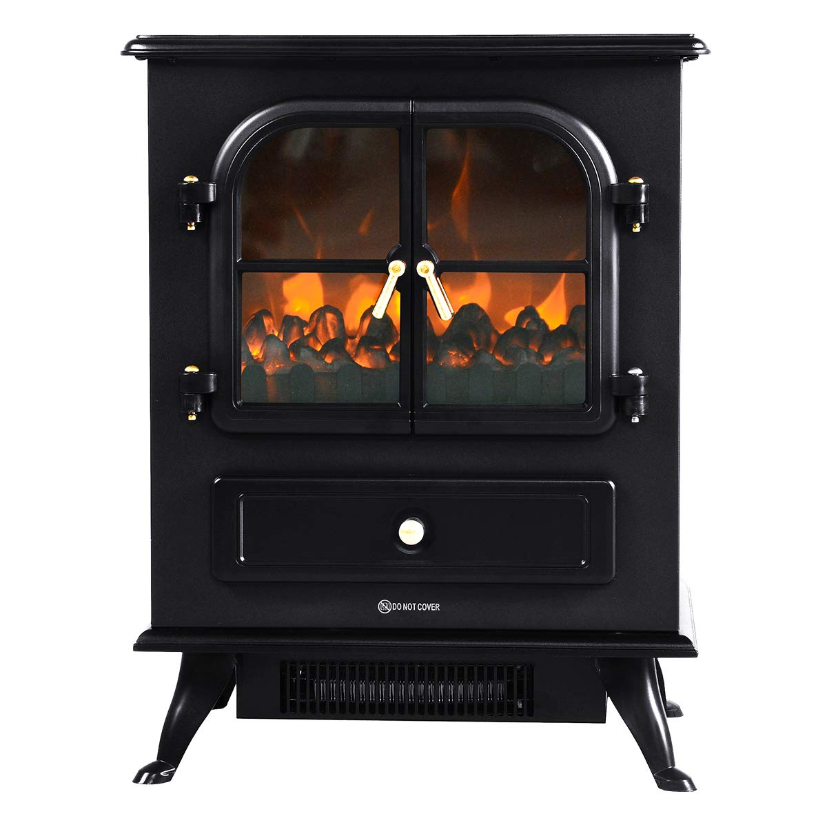 COSTWAY Electric Stove Heater, 1800W Freestanding Fireplace with LED Log Burning Frame Effect, Adjustable Thermostat and Overheat Protection, Indoor Heater Ideal for Living Room