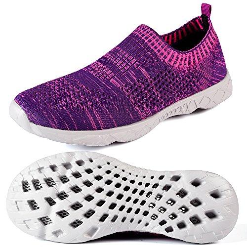 Mxson Frauen Slip On Sneaker Mesh Casual Sport Walking Strand Aqua Schwimmbad Wasser Schuhe Lila