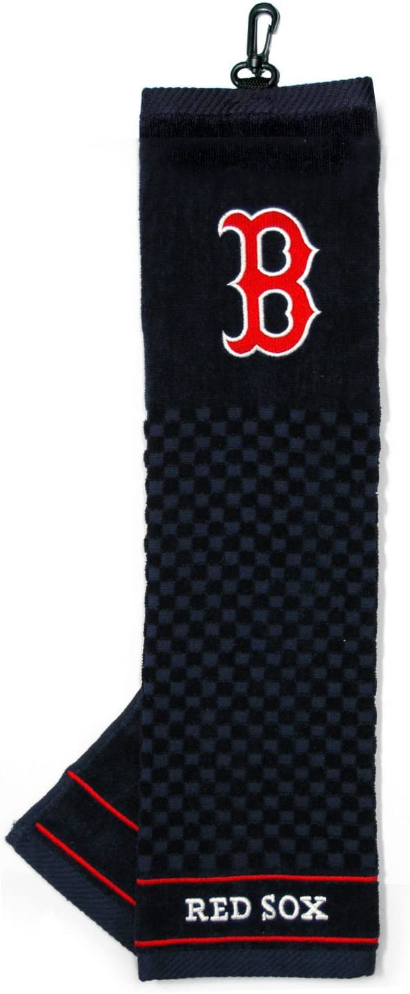 Team Golf MLB Boston Red Sox Embroidered Golf Towel, Checkered Scrubber Design, Embroidered Logo