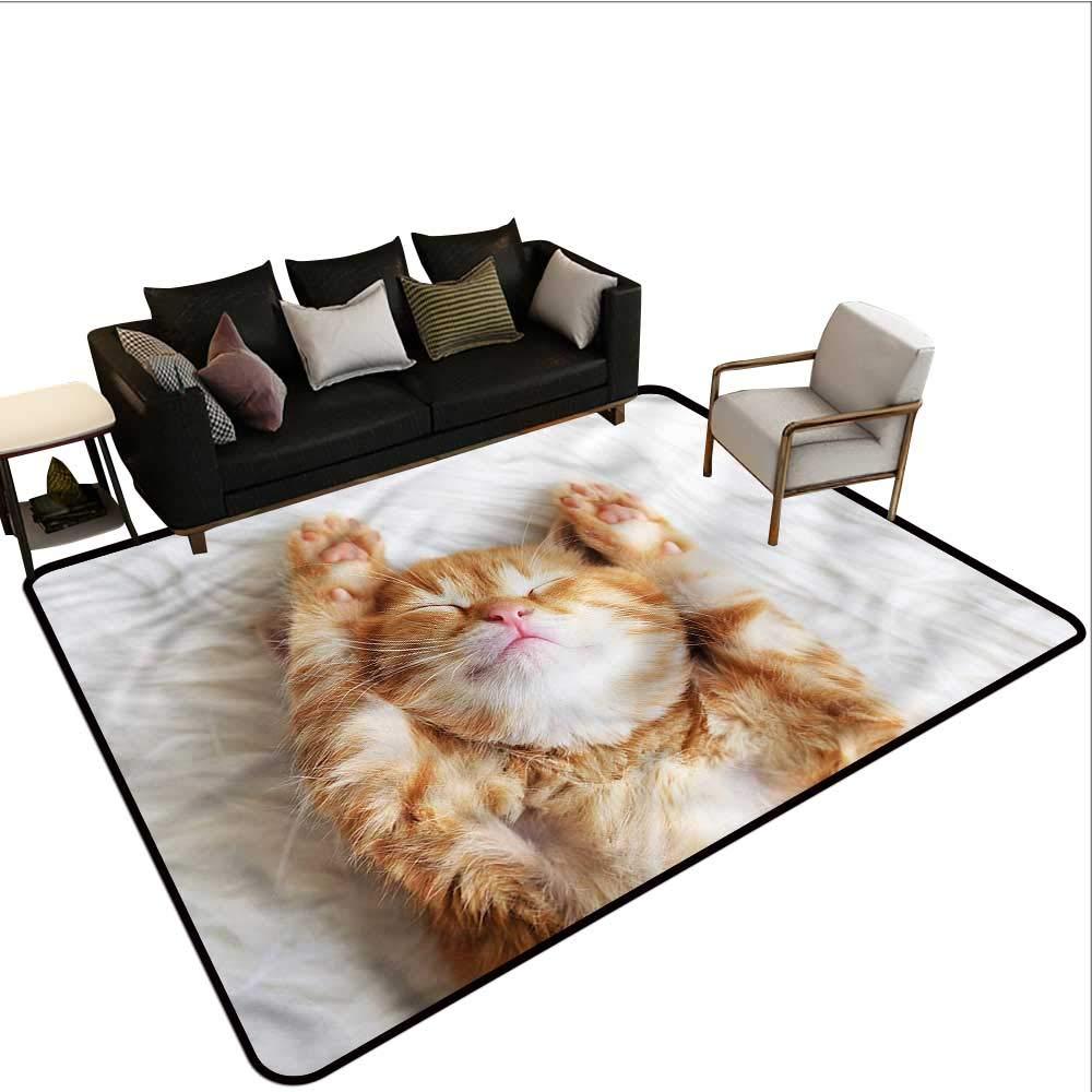 """Funny,Designed Kitchen Bathroom Floor Mat 80""""X 96"""" Little Kitten Sleeping auf Fur Kids Rugs für Playroom"""