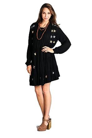 Velzera Embroidered Tiered Tunic Dress Boho Chic Plus Size (1X ...
