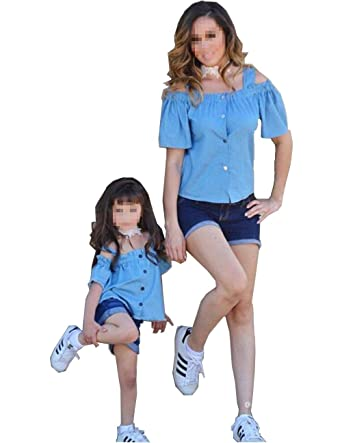 Mommy And Me Matching Clothes Cold Shouder Short Sleeve Button Down Top Denim Pants