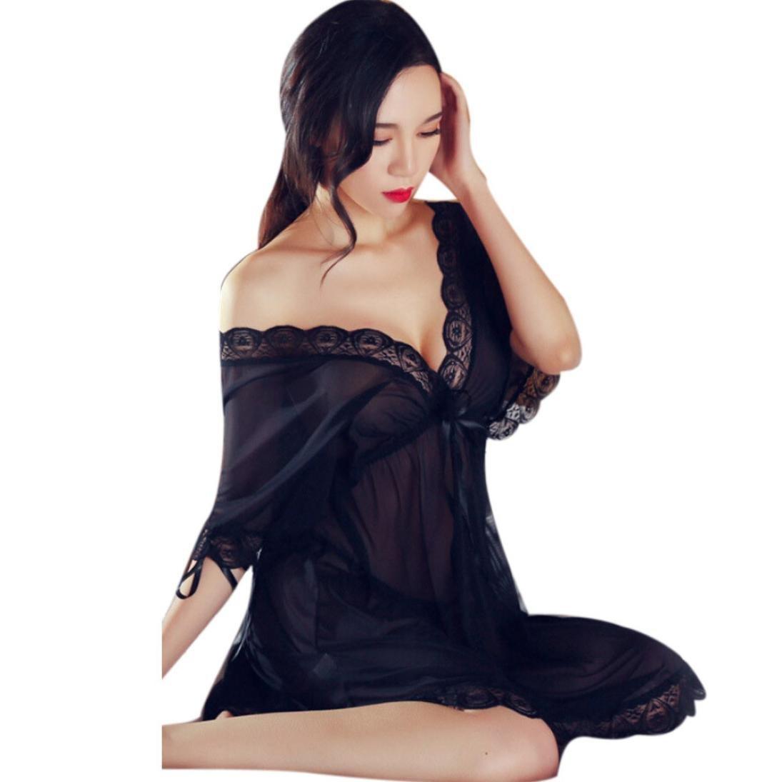 75dc87d928 Amazon.com  SUPPION Women Lace Sexy Nightdress Girls Sleepwear Nightgown Night  Dress Pajama (Black)  Clothing