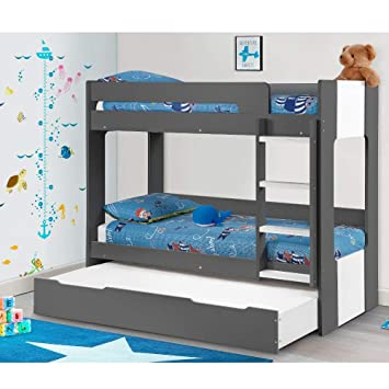 Bunk Bed With Trundle Guest Bed Happy Beds Ellie Grey Wood Modern
