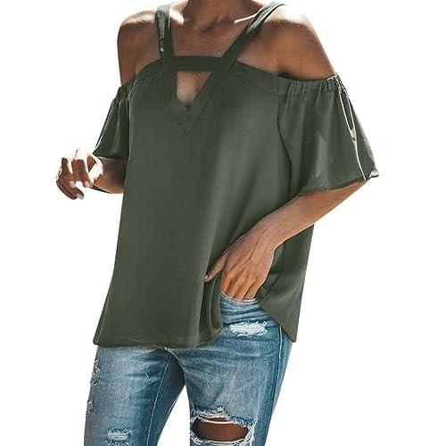 AMUSTER Frauen Schulterfrei Tops T Shirt V-Ausschnitt Kurzarm Sommer Top  Bluse Hollow out Lose 6676b014d2