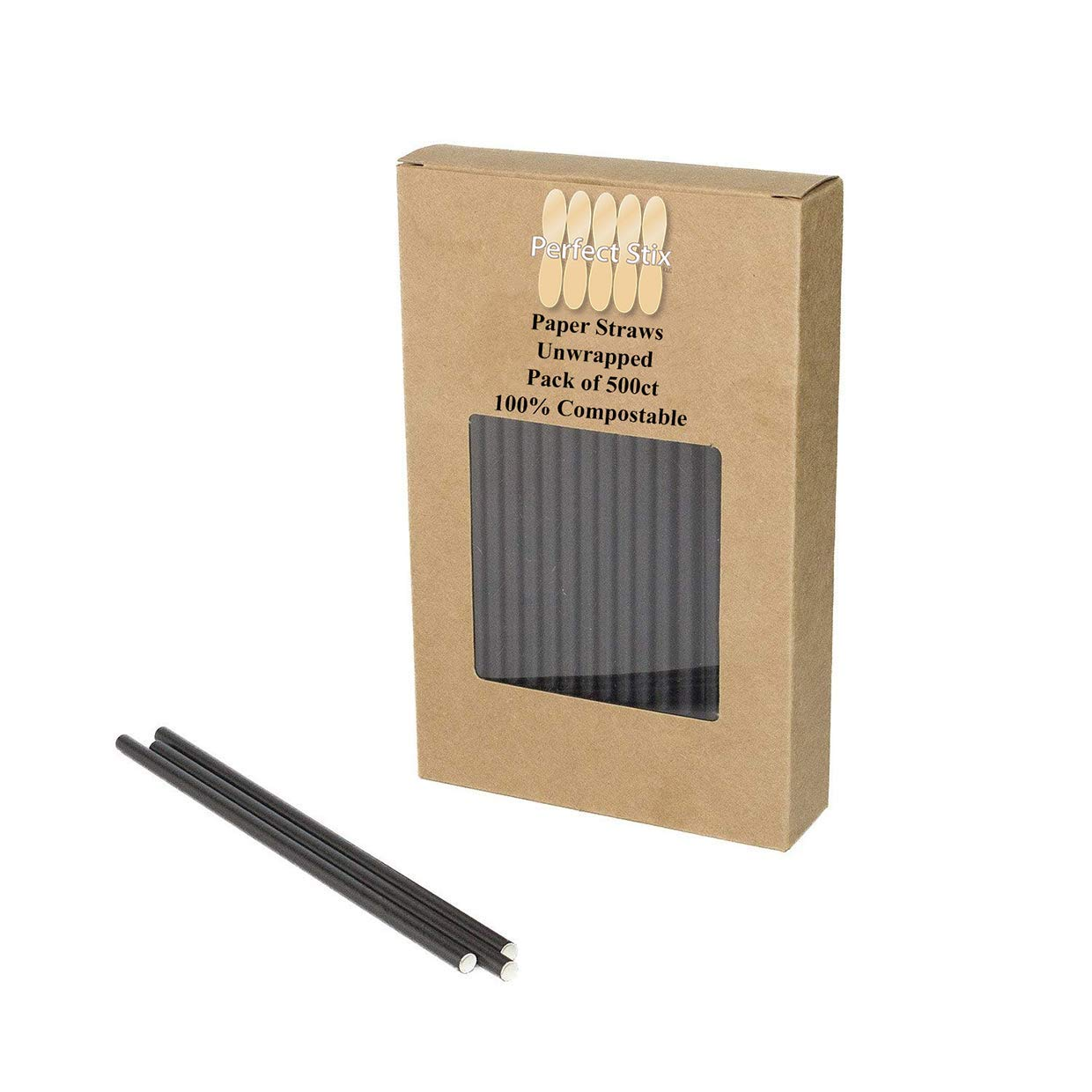 Perfectware 7.75 Jumbo Paper Straw Black-5000 7.75'' Jumbo Paper Straws- Unwrapped Case of 5000ct (Pack of 5000)
