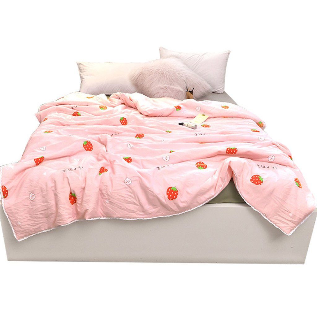 Cotton Washed Cotton Summer Cool Washable air Conditioner Bedding Cotton Summer (Color : Pink, Size : 180200cm)