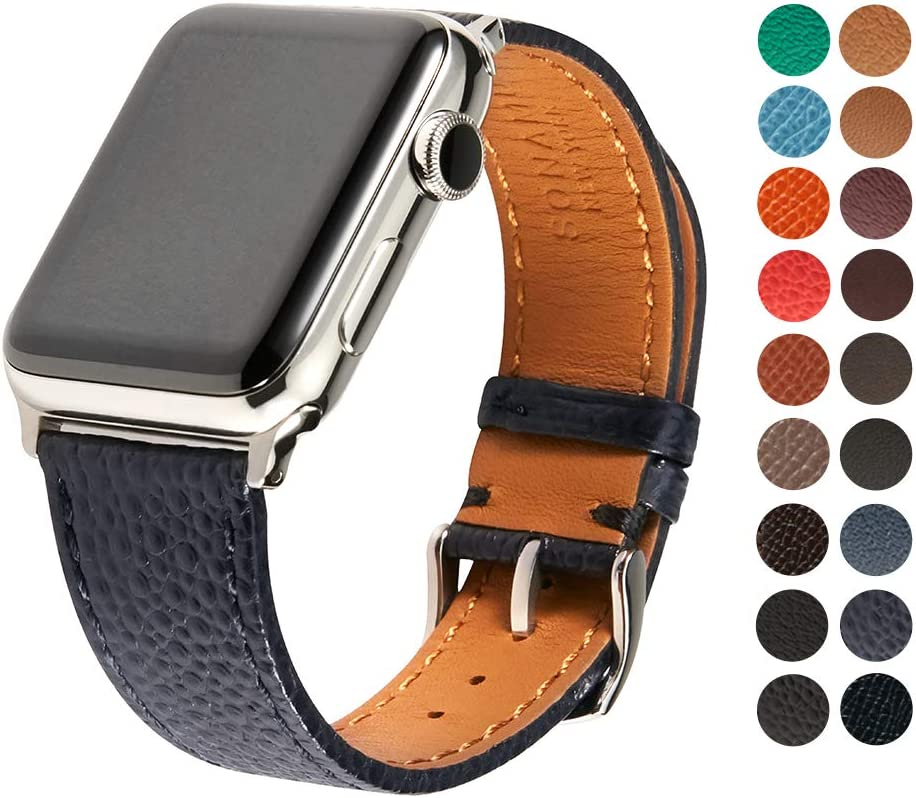 SONAMU New York Italian Caviar Premium Leather Strap Compatible with Apple Watch Band 38mm, Stainless Steel Clasp, Navy
