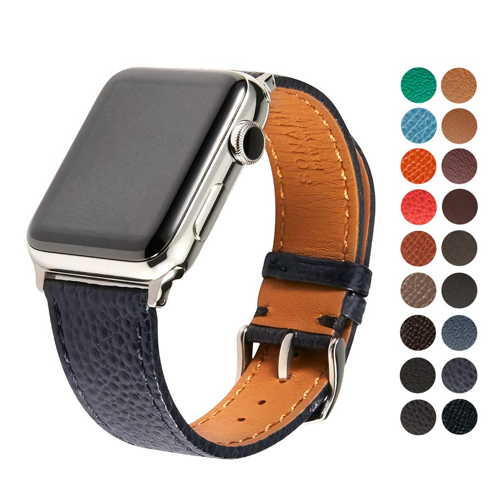 SONAMU New York Italian Caviar Premium Leather Strap Compatible with Apple Watch Band 38mm, Stainless Steel Clasp, Navy by SONAMU New York (Image #1)