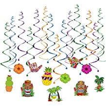 Unomor Hawaiian Party Decorations, 30 PCS Hanging Swirls for Luau Party Supplies & Decorations - 2018 New Design