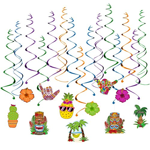 Unomor Hawaiian Party Decorations, 30 PCS Hanging Swirls for Luau Party Supplies & Decorations - -