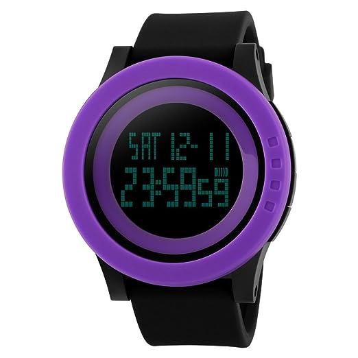 XinFang Reloj Digital para Hombres Mujeres niños niños niñas Deportes diseño Simple 50M Resistente al Agua