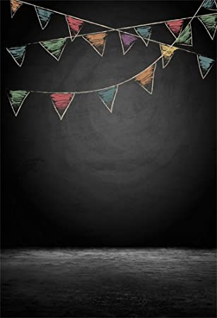Amazon Com Laeacco Vinyl 6x8ft Photography Background Black Abstract Grunge Chalkboard With Drawing Bunting Flags Blackboard Hangings Festival Party Holiday Decorations Children Adult Portrait Video Shooting Camera Photo