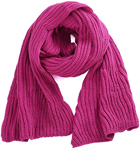 (ORSKY Women Winter Scarves Knitted Rectangle Hot Pink)