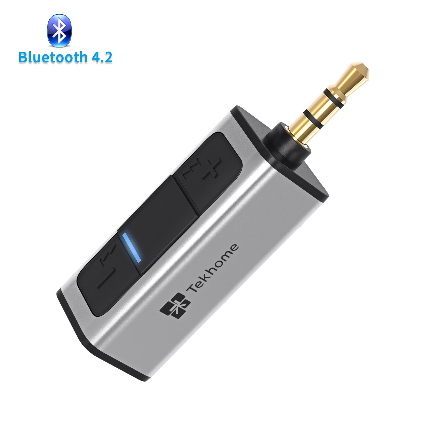 TekHome Bluetooth Receiver, Portable Bluetooth 4.2 Car Adapter & Bluetooth Car Aux Adapter for Music Streaming Sound System, Hands-free Audio Adapter & Wireless Car Kits for Home Audio Stereo System.