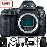 Canon EOS 5D Mark IV DSLR Camera (Body Only) - 11PC Accessory Bundle Includes 64GB SD Memory Card + 72 Full-Size Tripod + Flash Bracket + 160 LED Video Light + Professional Backpack + MORE
