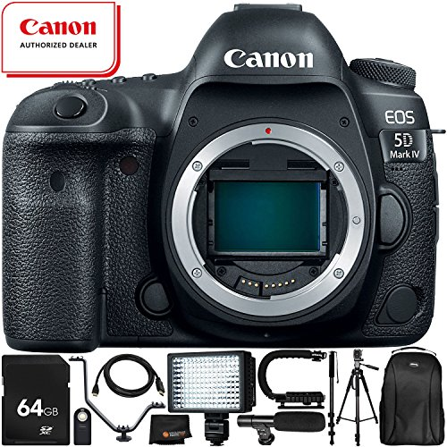 """Canon EOS 5D Mark IV DSLR Camera (Body Only) - 11PC Accessory Bundle Includes 64GB SD Memory Card + 72"""" Full-Size Tripod + Flash Bracket + 160 LED Video Light + Professional Backpack + MORE from Canon"""