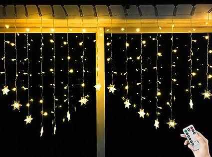 Weihnachtsbeleuchtung Für Balkongeländer.Bloomwin 2 1m Warmweiß Schneeflocken Lichtervorhang 8 Modi 104 Led