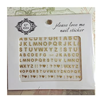 Born Pretty 1sheet Gold Letterpunctuation Pattern 3d Nail Stickers