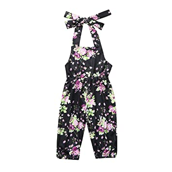 Toddler Kids Baby Girls Floral Jumpsuit Romper Bodysuit Clothes Outfits Summer