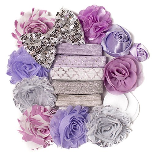 Guinevere : Lavender & Silver Sparkle DIY Deluxe Mini Headband Kit Makes 5-10 Headband Hair Accessories : Shabby Chiffon Craft Roses FOE Fold Over Elastic : Princess Parties & Baby Showers ()