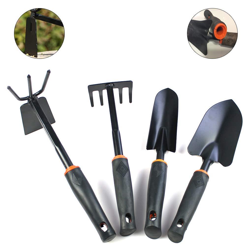 FangWWW Kit doutils de jardinage 4 pi/èces avec poign/ée antid/érapante en caoutchouc souple truelle truelle de transplantation et r/âteau /à main