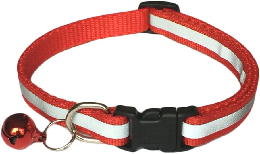 5 Pack Reflective Cat Collar with Bell Cat Collars for Dog Puppy Kitten Nylon Collars