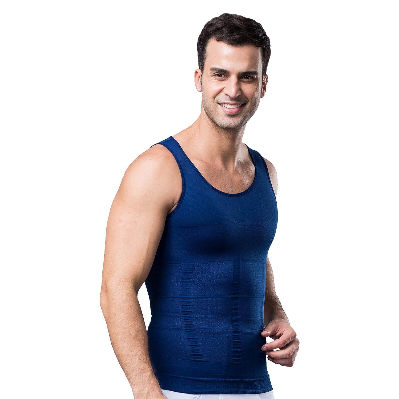 Kompressionsunterw/äsche I Herren Tanktop I figurformendes Unterhemd f/ür M/änner I Sport Fitness I T-Shirt Bodyshaper Bauchweg Marine XL