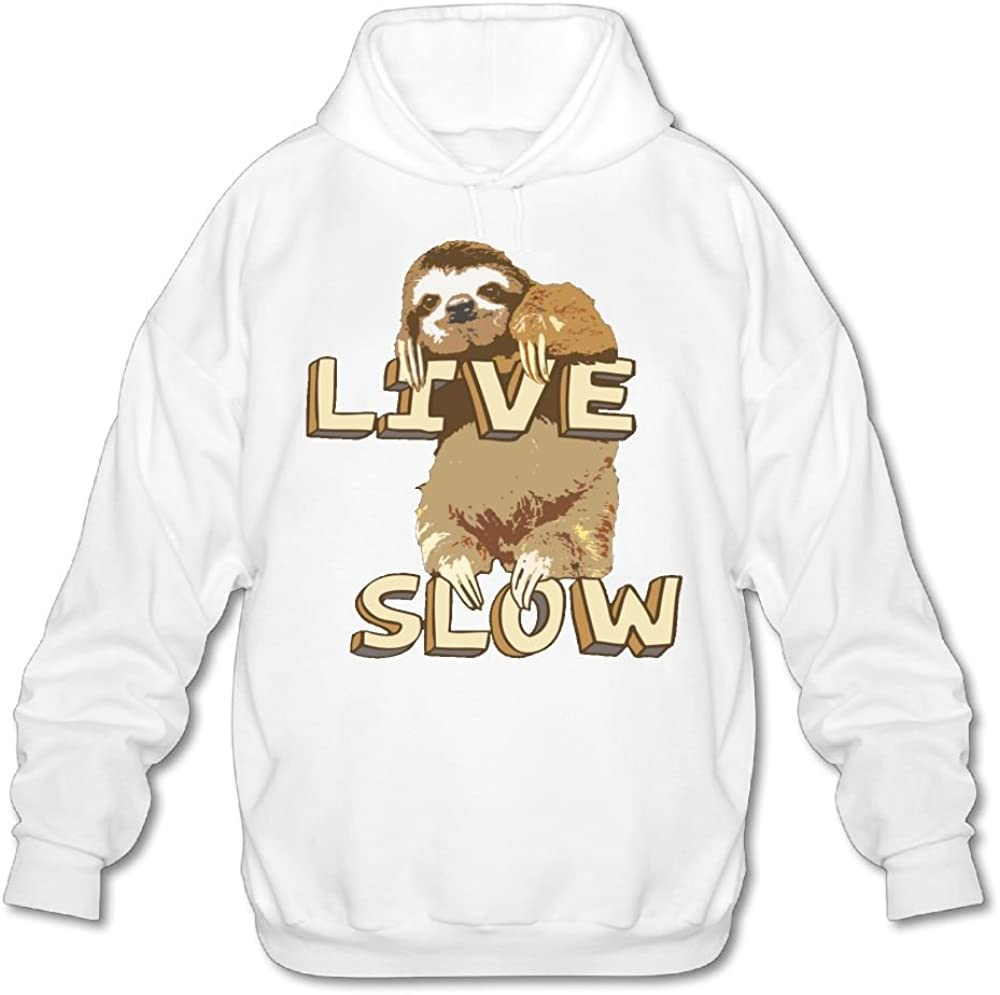 Sloth Live Slow Men Long Sleeve Pullover Fashion Hoodies Hooded Sweatshirt Graphic Hoodie