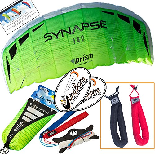 Prism Synapse 140 Cilantro Kite Yellow Green Bundle (3 Items) Dual Line Power Foil Parafoil + Peter Lynn Heavy Duty Padded Kite Control Strap Handles Pair + WindBone Kiteboarding Lifestyle Stickers
