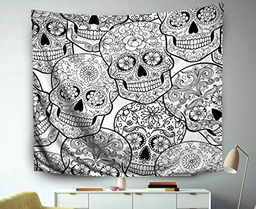 (Musesh Throw Wall Hanging Polyster Tapestry for Bedroom Living Room Decor Inhouse Halloween Pattern Sugar Skulls Coloring Page 60x50 Inches)