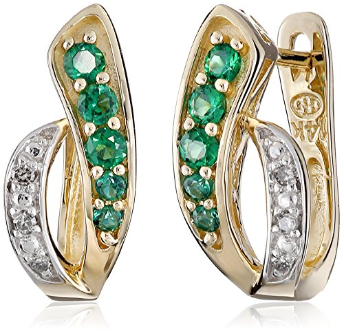 Rhodium Diamond Hinged Earrings (14k Yellow Gold Created Emerald and Diamond Accent Hoop Earrings)